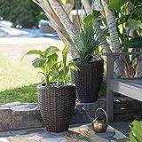 Espresso Brown Resin Wicker Set of 2 Round Patio Planters Pots Outdoor Gardening 16' Height
