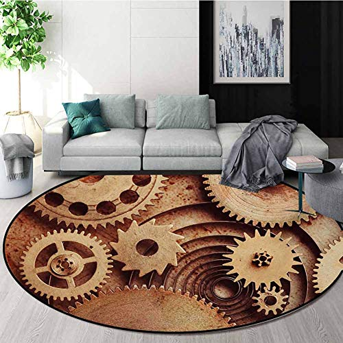 Fantastic Deal! Industrial Modern Machine Washable Round Bath Mat,Inside The Clocks Theme Gears Mech...