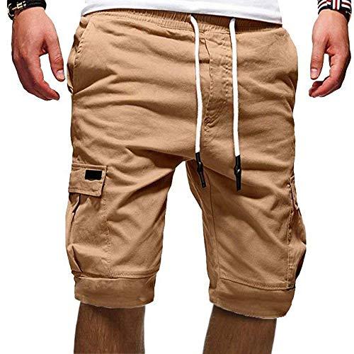 Cindeyar Shorts Herren Kurze Hosen Outdoor Casual Cargo Shorts Bermudas Sommer Chino Jogger Hose (219Khaki,L)