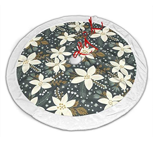 FUNINDIY Hand Drawn Poinsettia Flowers Hawaiian Inspired Art Print Christmas Tree Skirt - 48 Inches Large Luxury Velvet Tree Skirt with White Plush Border Xmas Tree Holiday Decorations