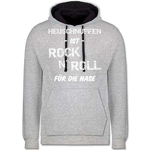 Sprüche - Heuschnupfen ist Rock n\' Roll für die Nase - XL - Grau meliert/Navy Blau - 5XL Hoodie - JH003 - Hoodie zweifarbig und Kapuzenpullover für Herren und Damen