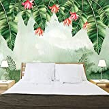 ZZXIAO Papel tapiz fotográfico acuarela hojas de plátano textura revestimiento de paredes papel tapiz artístico para cocina Decoración Fotomural sala Pared Pintado Papel tapiz no tejido-200cm×140cm