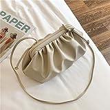 Bolsos Mujer Moda Damas Color Sólido Elegante Messenger Bag Ladies Clutch Bag Ladies Party Bolso Ladies Shoulder Messenger 23Cmx17Cmx11Cm Beige