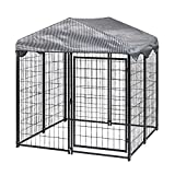 TOOCA Outdoor Dog Kennel 4ft X4.2ft X4.5ft,Heavy Duty Metal Dog House Large Pet...