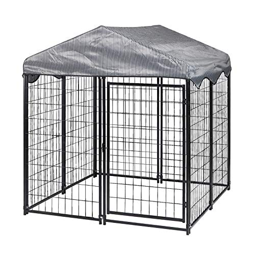 TOOCA Outdoor Dog Kennel 4ft X4.2ft X4.5ft,Heavy Duty Metal Dog House Large Pet Playpen Dog Cage Crate for Large/Medium/Small Animal Run with UV Protective Cover & Invisible Lock
