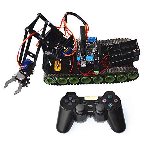 WYY RC Tanque De La Robusteza, Brazo Robótico con El Regulador PS2, DIY Kit De Conjunto del Robot para Learn Arduino Aplicación Codificación, Tallo Juguete Educación