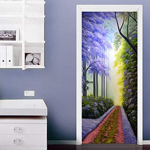 3D-deurstickers voor binnendeuren, LMHWW-bospad Hd zelfklevende muurkunststickers voor slaapkamerhuis woonkamer slaapkamer kantoor badkamer home improvement 30.3X78.7 inch