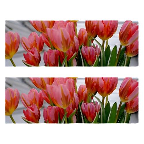 Toallas de gimnasio de fitness con estampado de flores de tulipán de secado rápido, toalla de microfibra para entrenamiento deportivo para hombres y mujeres, paquete de 2