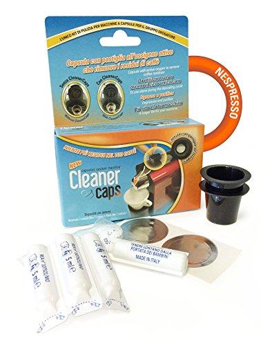 CleanerCaps Kit DISINCROSTANTE Completo di 4 FIALE E 2 Capsule con PASTIGLIA per 6 Mesi di Pulizia per Macchine NESPRESSO