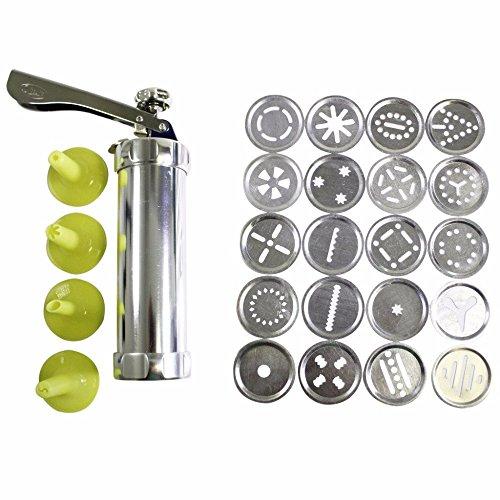 ZREAL Machine à biscuits Biscuit Presse Set Cookie Maker Machine Kit en acier inoxydable 20 disques 4 conseils de glaçage Spritz pâte Biscuits faisant des outils Kit de decoration à patisserie
