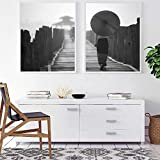 ARTPRIME Laminas Decorativas para enmarcar el Salon. Set de Dos láminas en Blanco y Negro de Paisaje Especial Decorativo. Impresión de Calidad. Papel de 250Gr