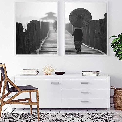 ARTPRIME Cuadro Decorativo para enmarcar Set de Dos láminas en Blanco y Negro...