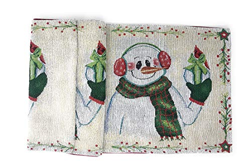 DaDa Bedding Magical Snowman Table Runner - Festive Holiday White Tapestry - Cotton Linen Woven Dining Mats (9733) (13x48)