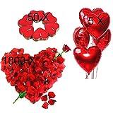 Kit Romántico de Velas y Pétalos. 50 Velas en Forma de Corazón + 1000 Pétalos de Rosa Roja de...