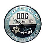 Nostalgic-Art, Reloj Retro de Pared, Dog Times – Idea de Regalo para dueños de Perros, Gran decoración para la Cocina, Diseño Vintage, Ø 31 cm