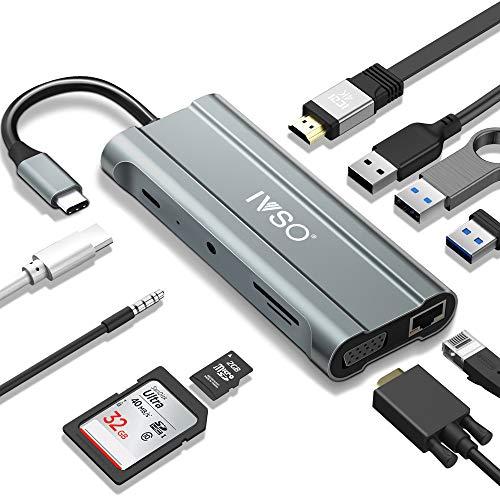IVSO Hub USB C, Dual-Display, Adaptador 10 en 1Type C Dock con...