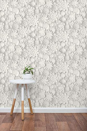 Fine Décor 3D Floral White, One Size