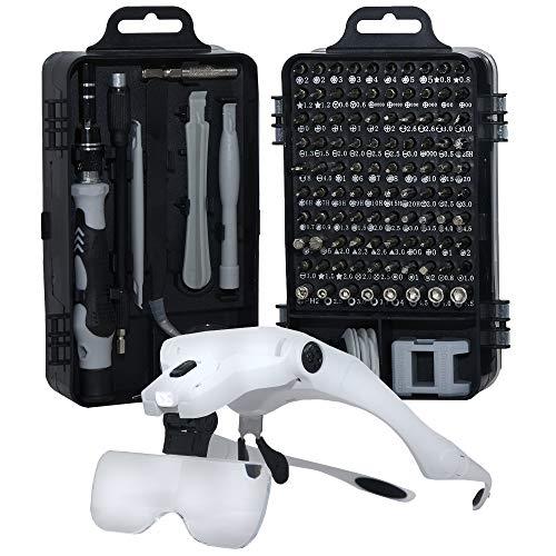 FIXOMNIA Reparatur-Kit Set mit 122 Teilen –Werkzeugset zur Reparatur von Handy Display Smartphone Laptop PC Notebook – Elektronik Präzisions Schraubendreher - Schraubenzieher Set + Lupenbrille