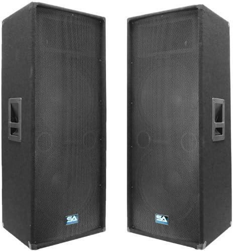 Seismic Audio Pair of Dual 15 PA DJ Speakers 1400 Watts PRO Audio Band Bar Wedding Church Karaoke product image