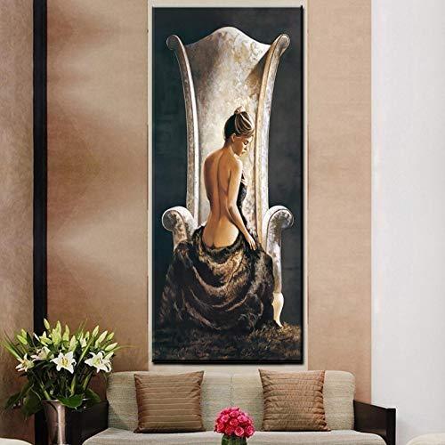 wZUN Vintage Gran Mujer Sexy en Silla Pintura al óleo HD impresión Chica Cuerpo Desnudo sobre Lienzo Cuadro de Arte de Pared 60x120 Sin Marco
