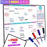SmartyPlans Dry Erase Weekly Extra Thick Magnetic Calendar for Refrigerator: 17x13' Two Week Planner and 6x9' White Board, 4 Fine Tip Markers and Eraser with Magnets. Stain Resistant. Shipped Flat.