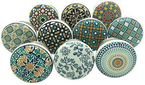 10er-Set Türknaufe, Motiv: Positive Energy VI, aus Keramik, im Vintage-/Shabby Chic-Stil, für Schrank, Schublade, Griffe zum Aufziehen mit Dekor Pushpacrafts