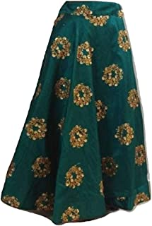 SNEH Women's Silk Heavy Work Skirt (Green,Free Size)