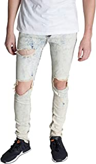 KDNK Men's Tapered Skinny Fit Stretch Denim Distressed Washed Ankle Zip Jeans