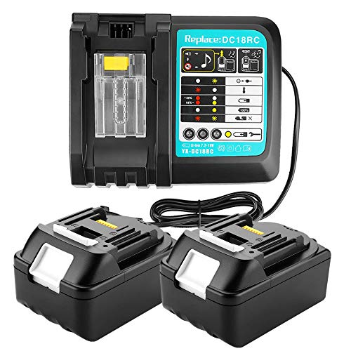 2 unids 18 V 5.0 Ah BL1850 Baterías con cargador 3A Reemplazar para Makita Drill Driver DHR171Z DTM51Z 18 V LXT Impacto Driver DTD152Z TD110DZ DTD146Z