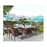 Conjunto de bistró de ratán con sillas de mesa de Sets de muebles de jardín de ratán conjuntos de patio y sillas conjuntos de césped familiares para jardín al aire libre junto a la piscina junto a la