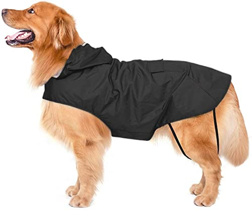 Bwiv Impermeables para Perros Grandes con Capucha Ajustable Ultra-Light Transpirable Impermeable para Mascotas Perros...