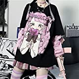 DONGYAO Camiseta Mujer Harajuku Camiseta Kawaii JK Girl Print Negro Verano Coreano Pop Streetwear Mujer Chic Casual Tops Camisetas Mujer Camisa Mujer (Color: Negro, Talla: S 32.5kg 40kg)