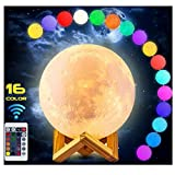 EQWOL Moon Lamp, 5.9 inch 16 Color Moon Light with Remote & Touch Control, USB Charging dimmable Night Light for Kids