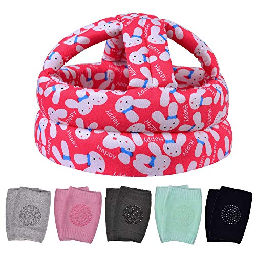 Baby Safety Helmet & 5 PCS Baby Knee Pads for Crawling, Baby Head Protector & Infant Helmet, Suitable for Age 6-36 Months, Red Rabbit