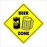 Beer Crossing Sign Zone Xing | Indoor/Outdoor | 12' Tall Mug Glass neon tap keg Gag Funny Brew Drinker Drunk