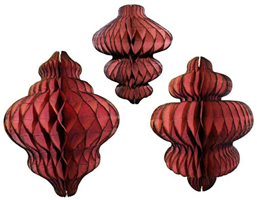 Set of 3 Maroon Honeycomb Tissue Paper Hanging Ornament Decorations (11 inch, 10 inch, 8 inch)