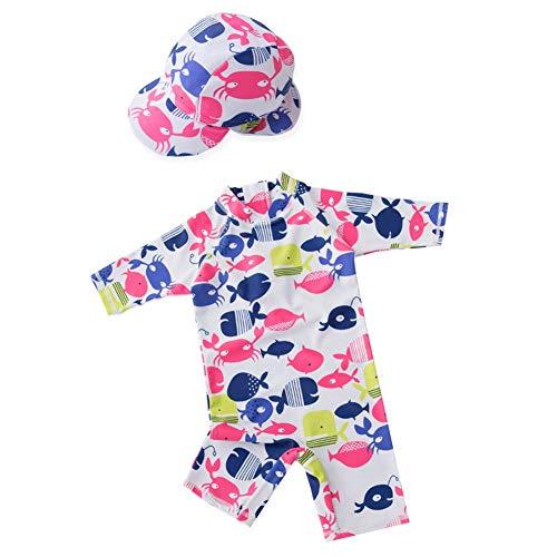 AMIYAN Mädchen Baby EinteilerSchwimmanzug Badenmode Kleinkinder Prinzessin Langarm Badeanzug mit Badekappe 1-2 Jahre