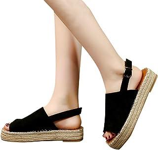 3d8192d5 Sandalias Plataforma Cuña Mujer Alpargatas Tacon Verano Bohemias Romanas  Abierto Playa Gladiador Tacon 6cm Zapatos de