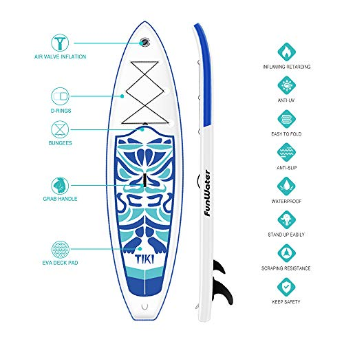 Product Image 3: FunWater Inflatable 10'6×33″×6″ Ultra-Light (17.6lbs) SUP for All Skill Levels Everything Included with Stand Up Paddle Board, Adj Floating Paddles, Pump, ISUP Travel Backpack, Leash,Waterproof Bag,