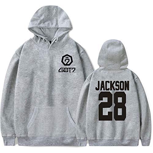 ZIGJOY JPY GOT7 Kaputzenpullover Album Keep Spinning Top Sweatshirt Jumper Jackson JB Mark Youngjae Bambam Yugyeom Hoodie für Fans JK Grey S