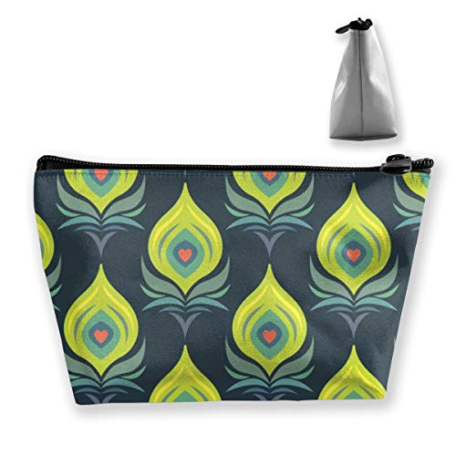 Multi-Functional Print Trapezoidal Storage Bag for Female Lovely Peacock Feather Pattern