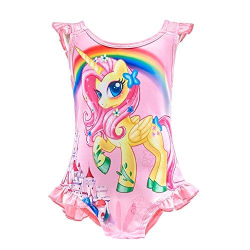 Lito Angels Traje de baño Unicornio de una Pieza para niñas pequeñas, sin Mangas con Volantes, Fiesta de Verano en la Playa, Talla 5 a 6 Años, Rosa