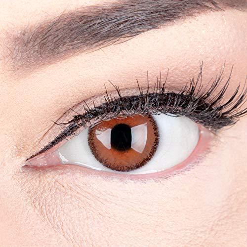 Braune Premium Kontaktlinsen 'Mirel Choco' Farbige Linsen Ohne Stärke Braun + Behälter von Glamlens, weiche 3-Monatslinsen im 2er Pack