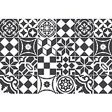 24 Stickers adhésifs carrelages | Sticker Autocollant Carrelage - Mosaïque carrelage mural salle de bain et cuisine | Carrelage adhésif - noir et blanc - 10 x 10 cm - 24 pièces