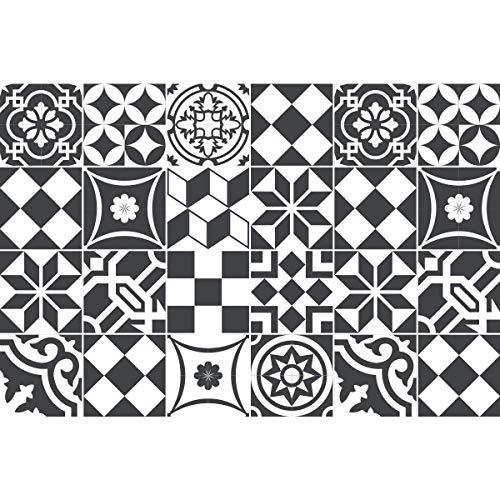 Ambiance-Live 24Aufkleber Fliesen | Sticker Selbstklebend Fliesen–Mosaik Fliesen Wandtattoo Badezimmer und Küche | Fliesen Kleber–Schwarz und Weiß–10x 10cm–24-teilig