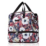 MIER Insulated Lunch Bags for Women Girls Kids Cute Lunch Box Meal Prep Containers Tote Bag for Work School, Dual Compartment (Floral Anemone, Small)