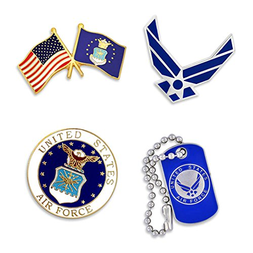 PinMart USAF Air Force Wings Military Patriotic Dog Tag Enamel Lapel Pin Set