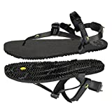 LUNA Sandals LEADVILLE PACER | Unisex Lightweight Athletic Sandals 4.45oz | 9mm Vibram Sole | Ideal for Walking, Trail Running, Hiking, Camping, Traveling | Black Huarache Adjustable Fit Sandals (Men's 8/Women's 10)
