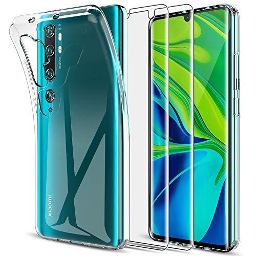 LK für Xiaomi Mi Note 10 / Mi Note 10 Pro Hülle mit [2 Stück Schutzfolie], Klar Schutzhülle Transparent TPU Silikon Handyhülle Kratzfest Durchsichtige Flex Hülle Cover, Crystal Clear