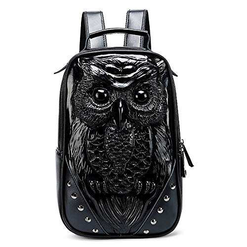 CLCCYYSJD Men's Leather Backpack, Funny Animal 3d Laptop Backpack, Retro Embossed, Rivet Design, Large Capacity Waterproof, Thickened Shoulder Strap, Suitable for 11-inch Laptop, Travel, Holiday and G